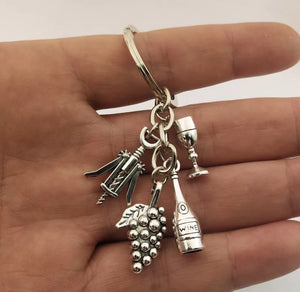 Wine Lovers Charm Key Ring