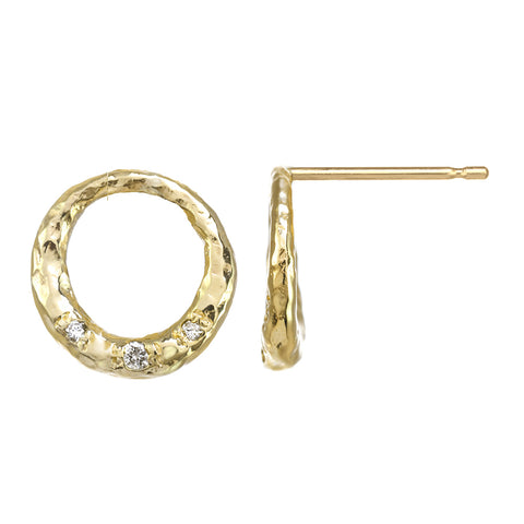 Crescent Moon Circle Full Moon Stud Earrings with white diamonds in 14kt and 18kt gold