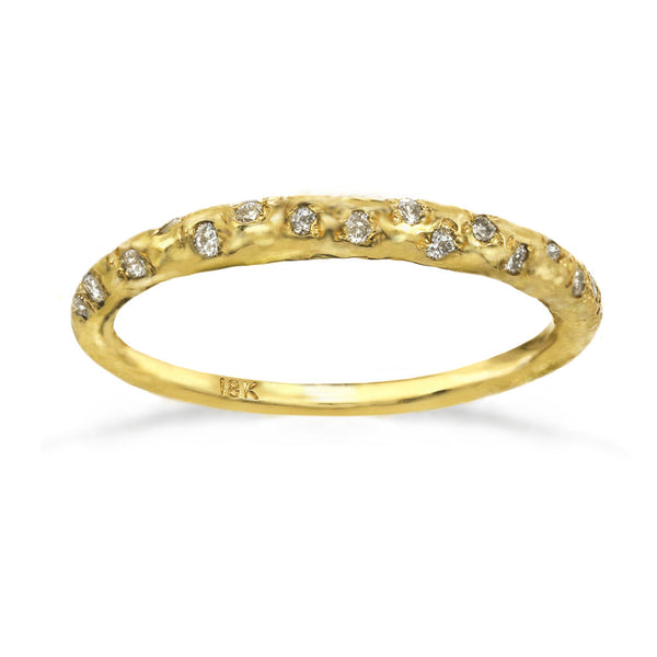 Crescent Moon Band Ring in 14kt and 18kt gold and white diamonds