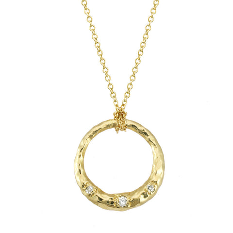Crescent Moon Circle Full Moon Necklace Pendant with white diamonds in 14kt and 18kt gold.