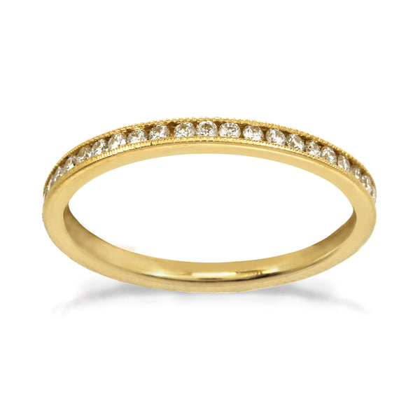 Diamond circle engagment ring and wedding ring in 14kt and 18kt gold