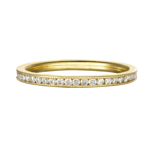 White Diamond circle engagment ring and wedding ring in 14kt and 18kt gold
