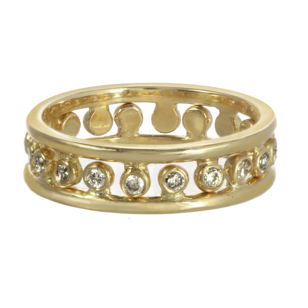 A pair of infinite constellation side rings with diamonds or sapphires in yellow gold.