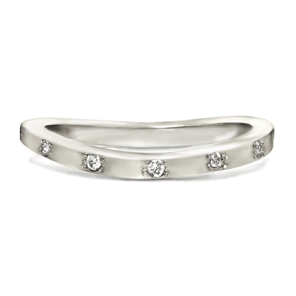 Sterling silver ring with bezeled diamonds. Perfect for a wedding ring.
