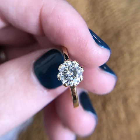Moissanite Ring in 18k yellow gold