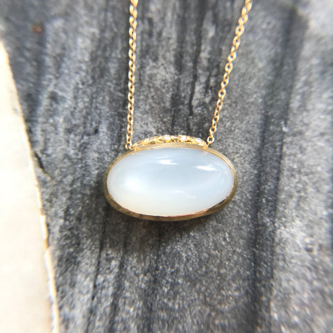 Moonstone Necklace with Crescent Moon Diamonds