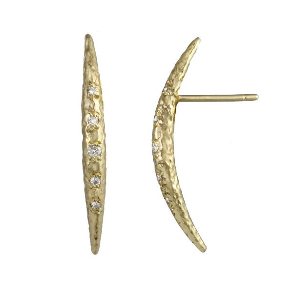 Crescent Moon Half Moon Stud Earrings with white diamonds in 14kt and 18kt gold