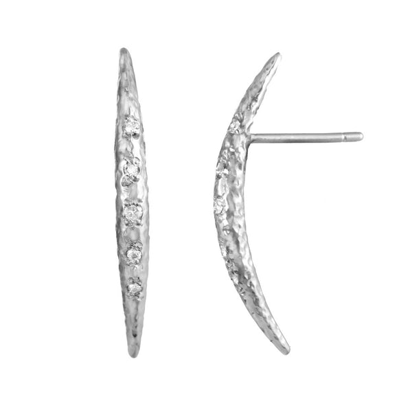 Crescent Moon Half Moon Stud Earrings with white diamonds in sterling silver