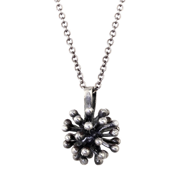 Large Oxidized Silver Dandelion Flower Pendant Necklace