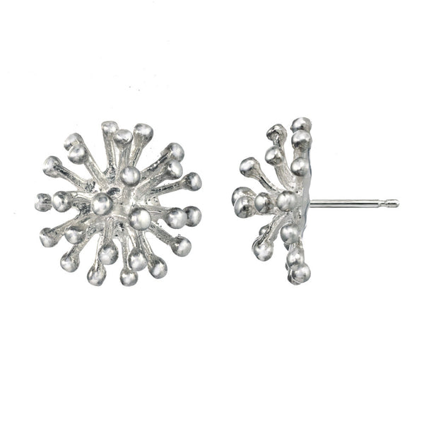 Large Sterling Silver Dandelion Flower Stud Earrings