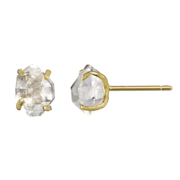 Herkimer Crystal stud earrings in gold.