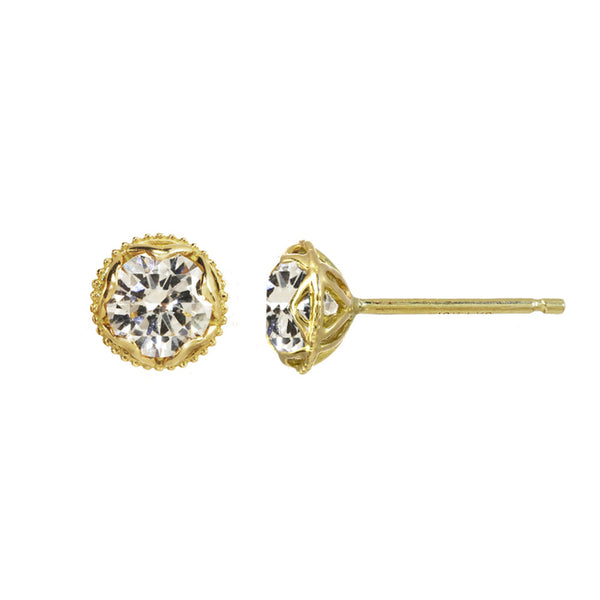 Large Champagne Diamond Stud Earrings 14kt and 18kt gold