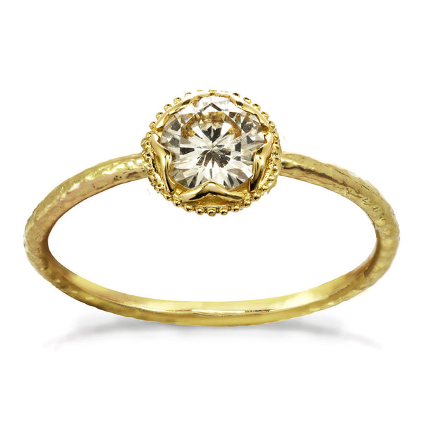 Large Champagne Diamond Ring 14kt and 18kt gold