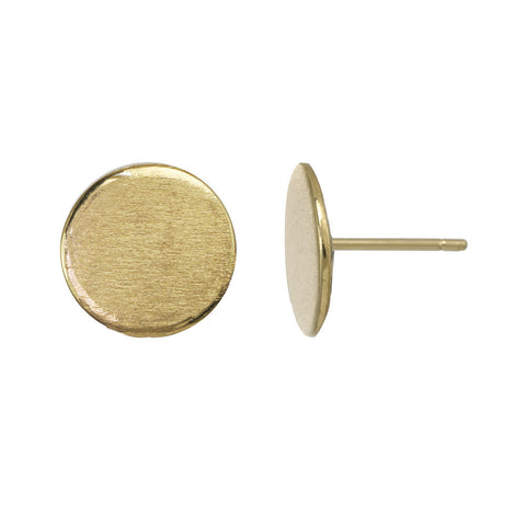 Large gold circle stud earrings.