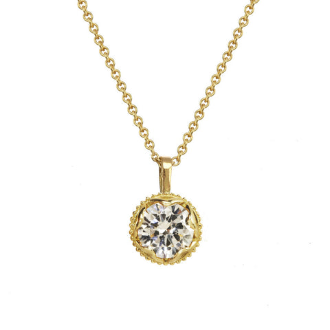 Large Champagne Diamond Pendant Necklace 14kt and 18kt gold