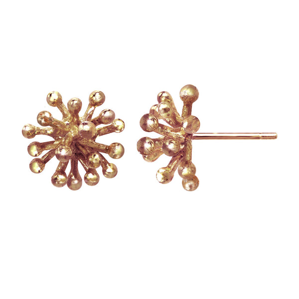 Medium 14kt and 18kt rose gold Dandelion Flower Stud Earrings in pink