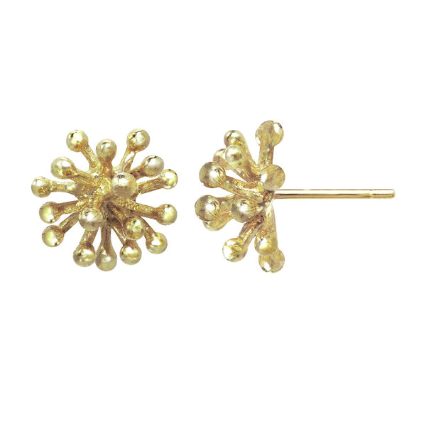 Medium 14kt and 18kt gold Dandelion Flower Stud Earrings