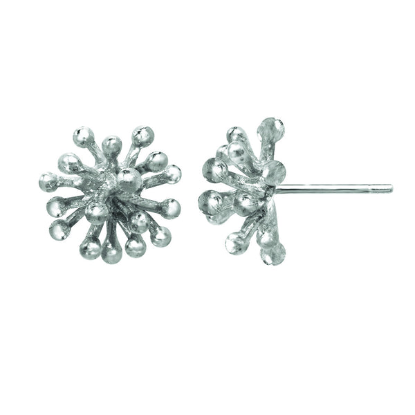 Medium sterling silver Dandelion Flower Stud Earrings