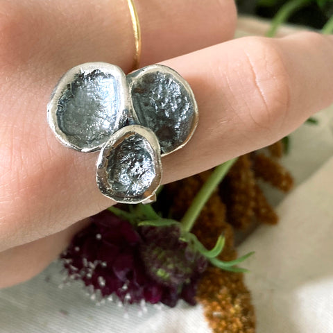 Triple Lily Pad Oxidized Ring