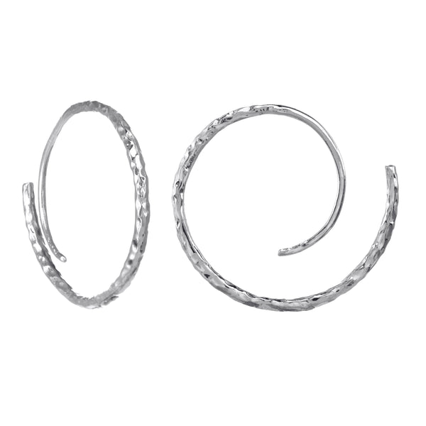Endless Crescent Moon Circle hoops in Sterling Silver.