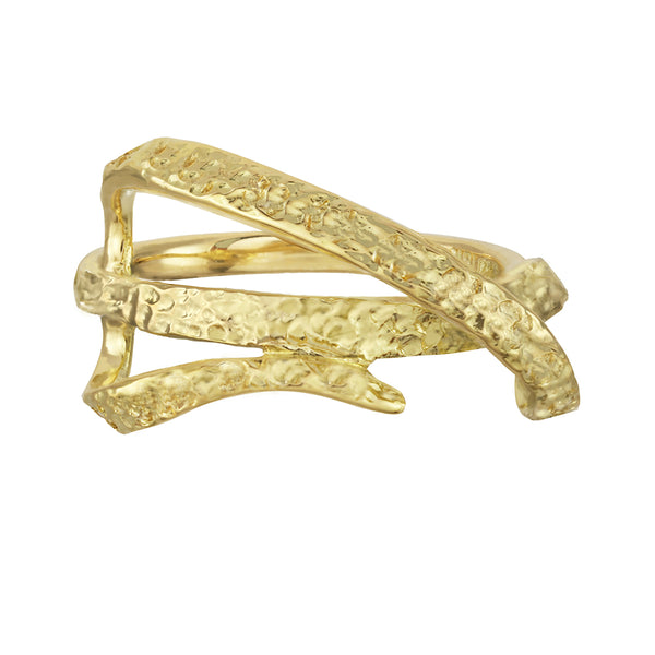Architectural modern gold ribbon ring. Artistic ring in sterling silver and 14kt and 18kt gold.