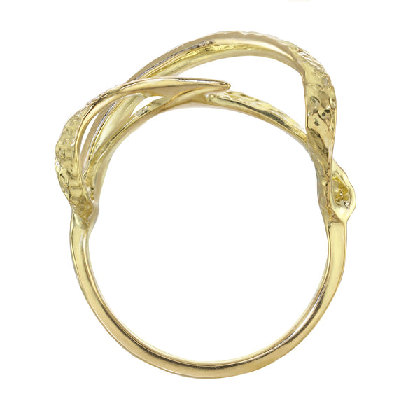 Architectural modern gold ribbon ring. Artistic ring in sterling silver and 14kt and 18kt gold. side view