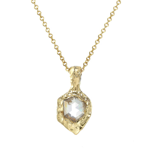 Rosecut Diamond Shield Necklace