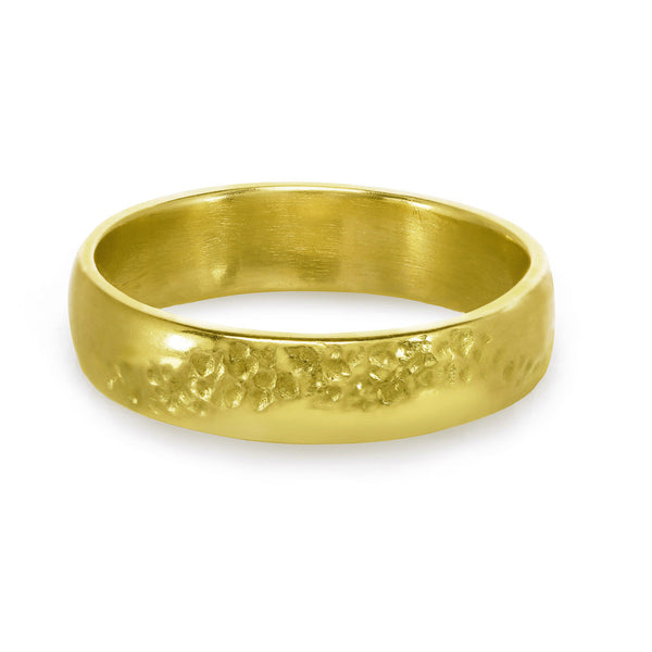 Men or women's textured gold wedding band.