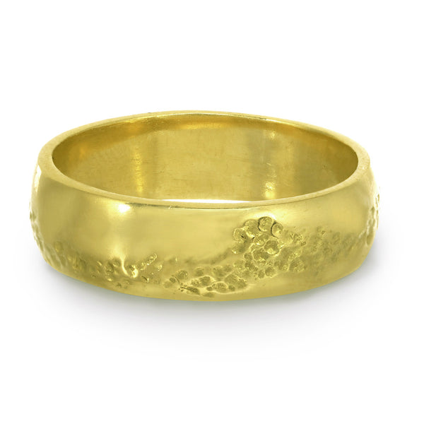 Men or women's textured gold wedding wide band