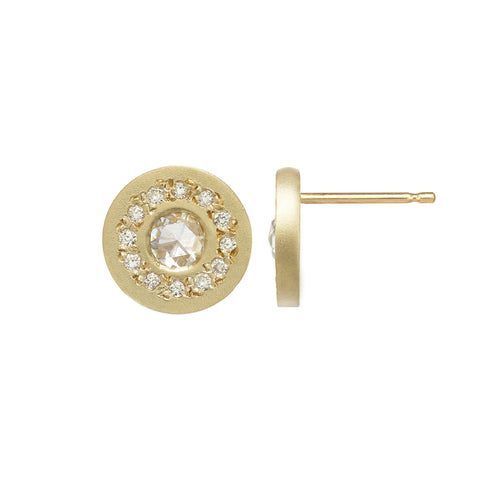 Gold circle studs with a diamond center stone and tiny diamond halo around the center.