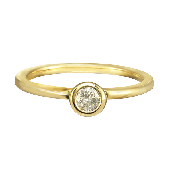 Yellow gold engagement band with a solitaire white diamond.
