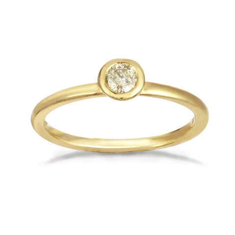Yellow gold engagement band with a solitaire yellow diamond.