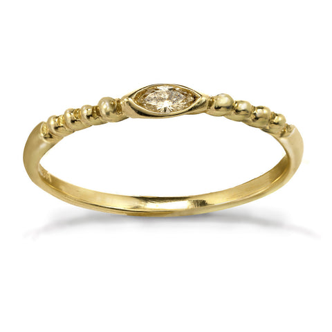 Braided Marquise Diamond Ring - 10K