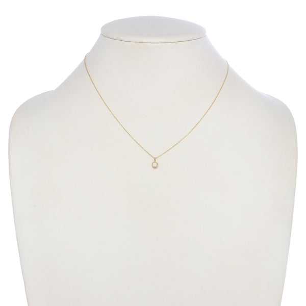 Small Champagne Diamond Pendant Necklace 14kt and 18kt gold display