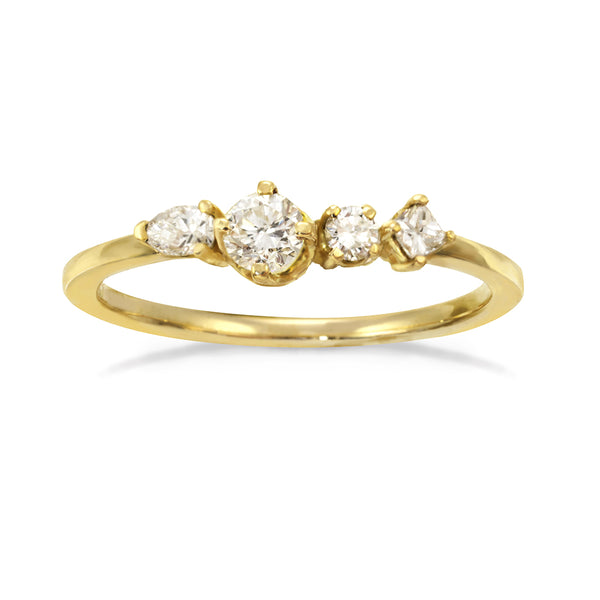 Gold engagement ring with four unique diamonds.
