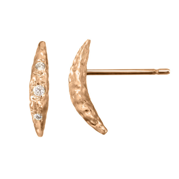 Small Crescent Moon Half Moon Stud Earrings with white diamonds in 14kt and 18kt rose gold
