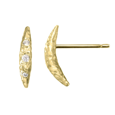 Small Crescent Moon Half Moon Stud Earrings with white diamonds in 14kt and 18kt gold