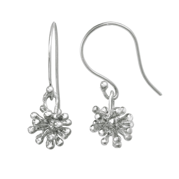 Dangling dandelion earrings on a sterling silver fishhook.