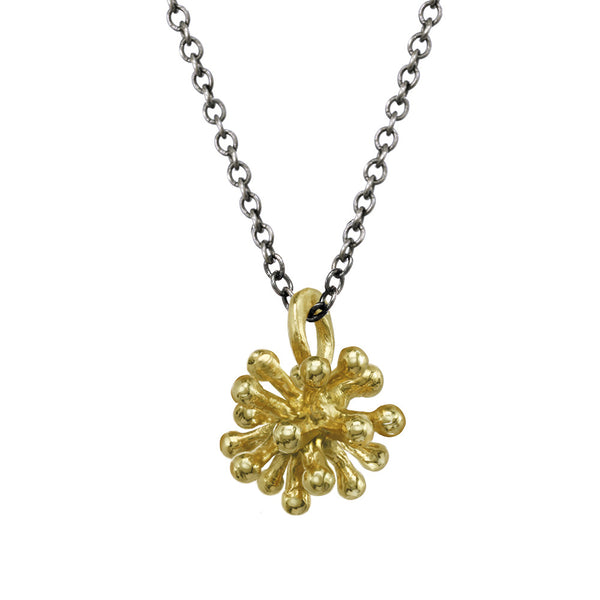 Small 14kt and 18kt Dandelion Flower Pendant Necklace with oxidized silver chain