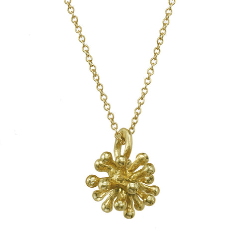 Small 14kt and 18kt Dandelion Flower Pendant Necklace with gold chain