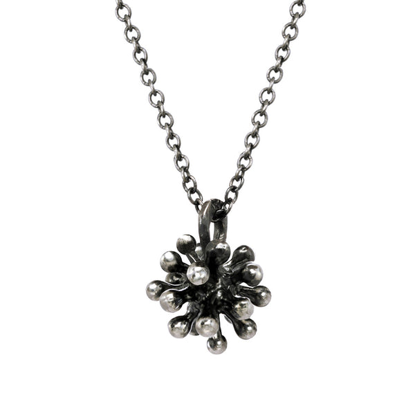 Small oxidized silver Dandelion Flower Pendant Necklace with oxidized silver chain