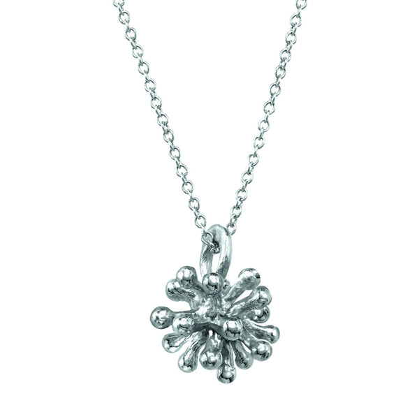 Small sterling silver Dandelion Flower Pendant Necklace with silver chain