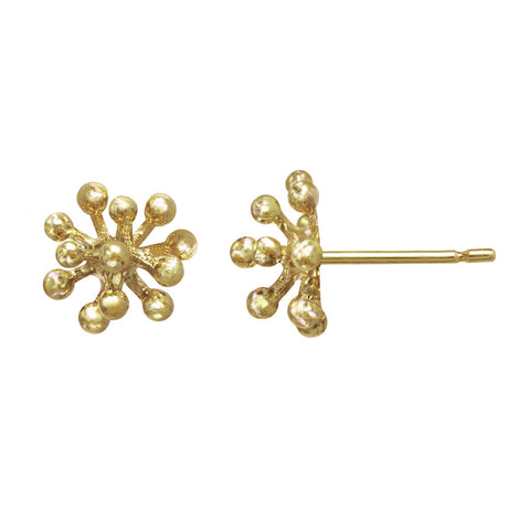 Small 14kt and 18kt gold Dandelion Flower Stud Earrings