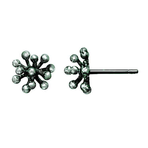 Small oxidized silver Dandelion Flower Stud Earrings