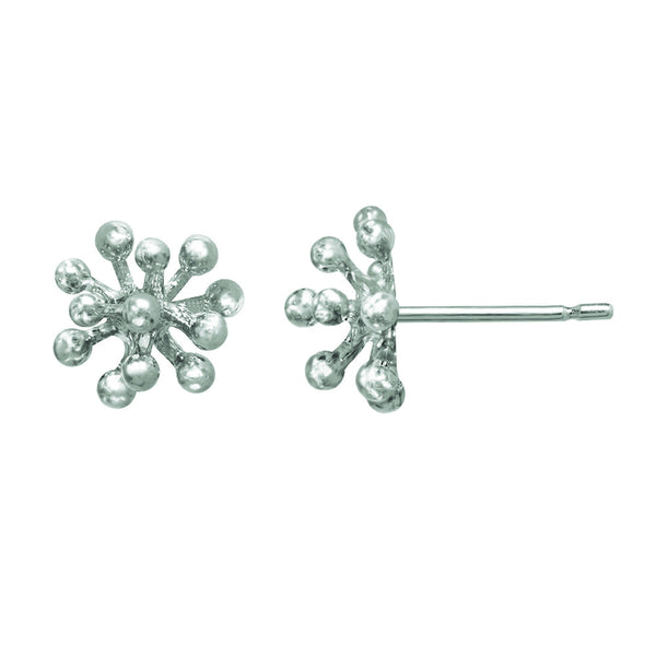 Small sterling silver Dandelion Flower Stud Earrings