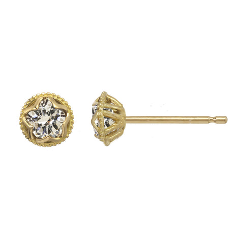 Small Champagne Diamond Stud Earrings 14kt and 18kt gold
