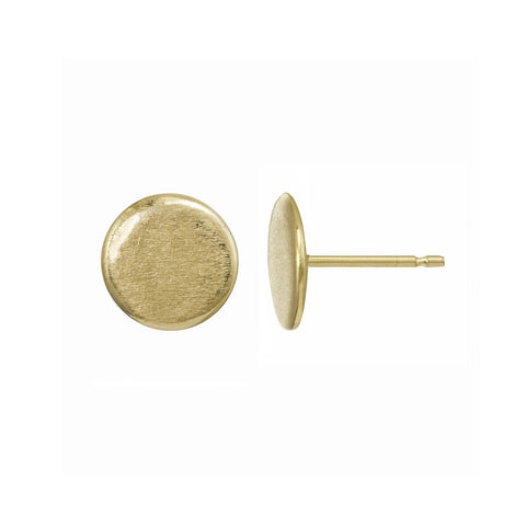 Small gold circle stud earrings.