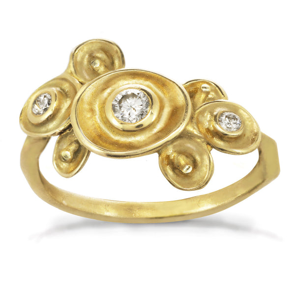 Small Waterlily Cluster Ring