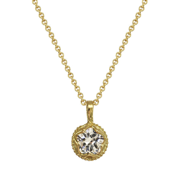 Small Champagne Diamond Pendant Necklace 14kt and 18kt gold