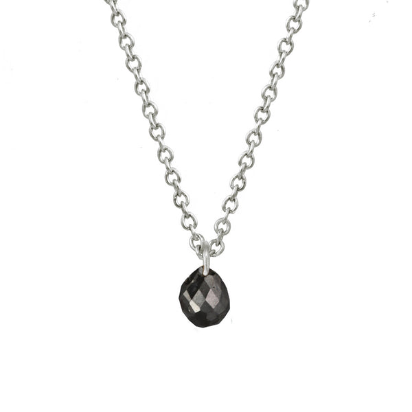 Tiny Constellation drop necklace with small black diamond on a white gold chain.